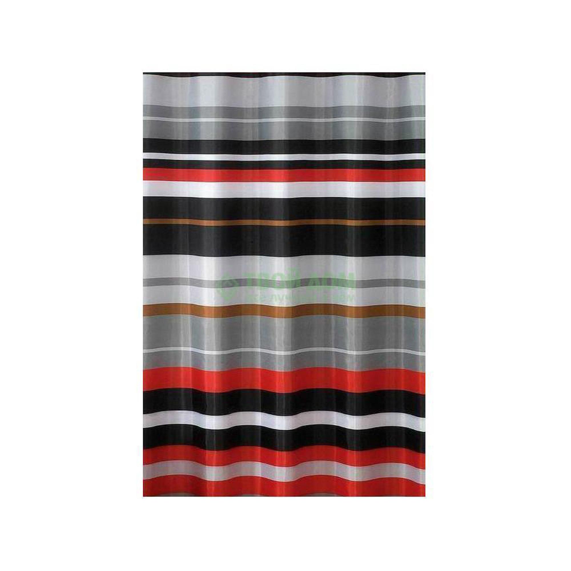 Штора для ванной комнаты Primanova Sonia в черно-красную полоску 180х200 см