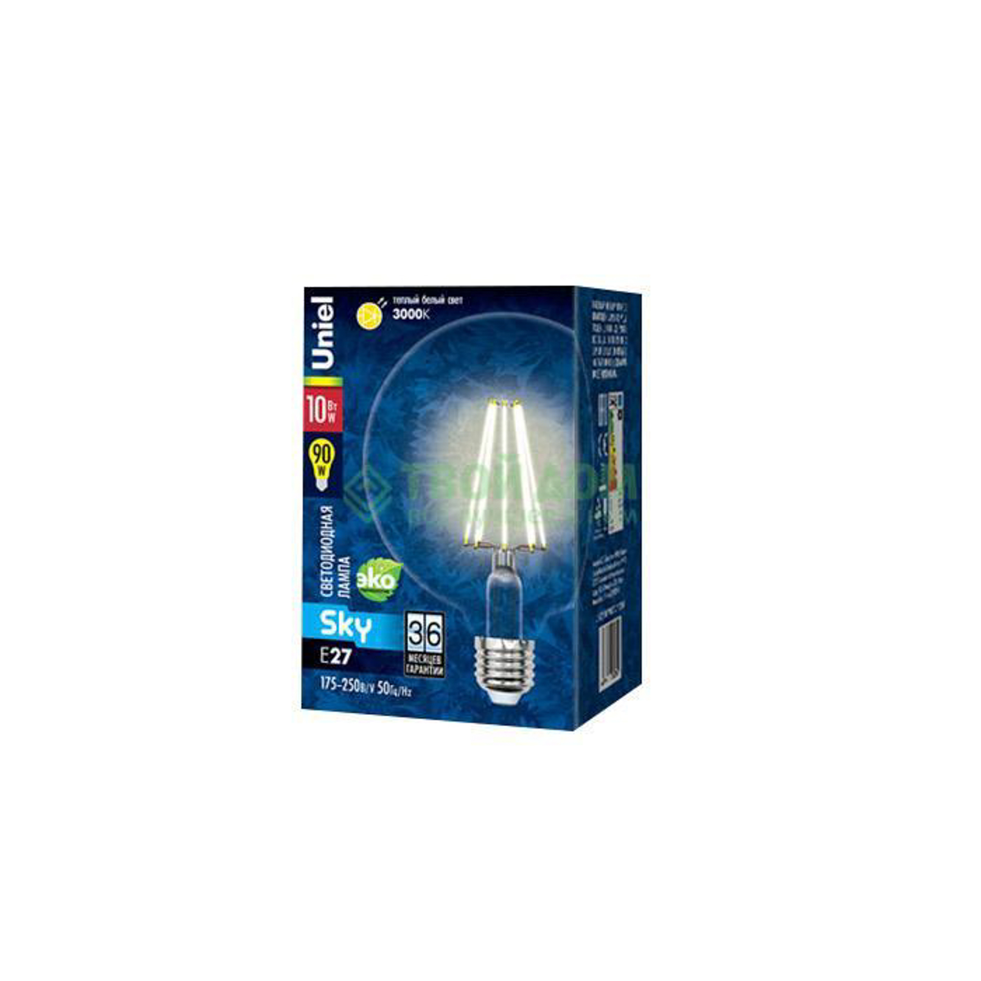 Фото - Лампочка Uniel LED-G125-10W/WW/E27/CL PLS02WH лампочка uniel led a60 10w ww e27 cl pls02wh sky