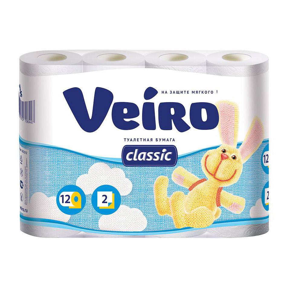 Туалетная бумага двухслойная Veiro Classic 12 рулонов бумага туалетная ideshigyo персик и нектарин 12 рулонов