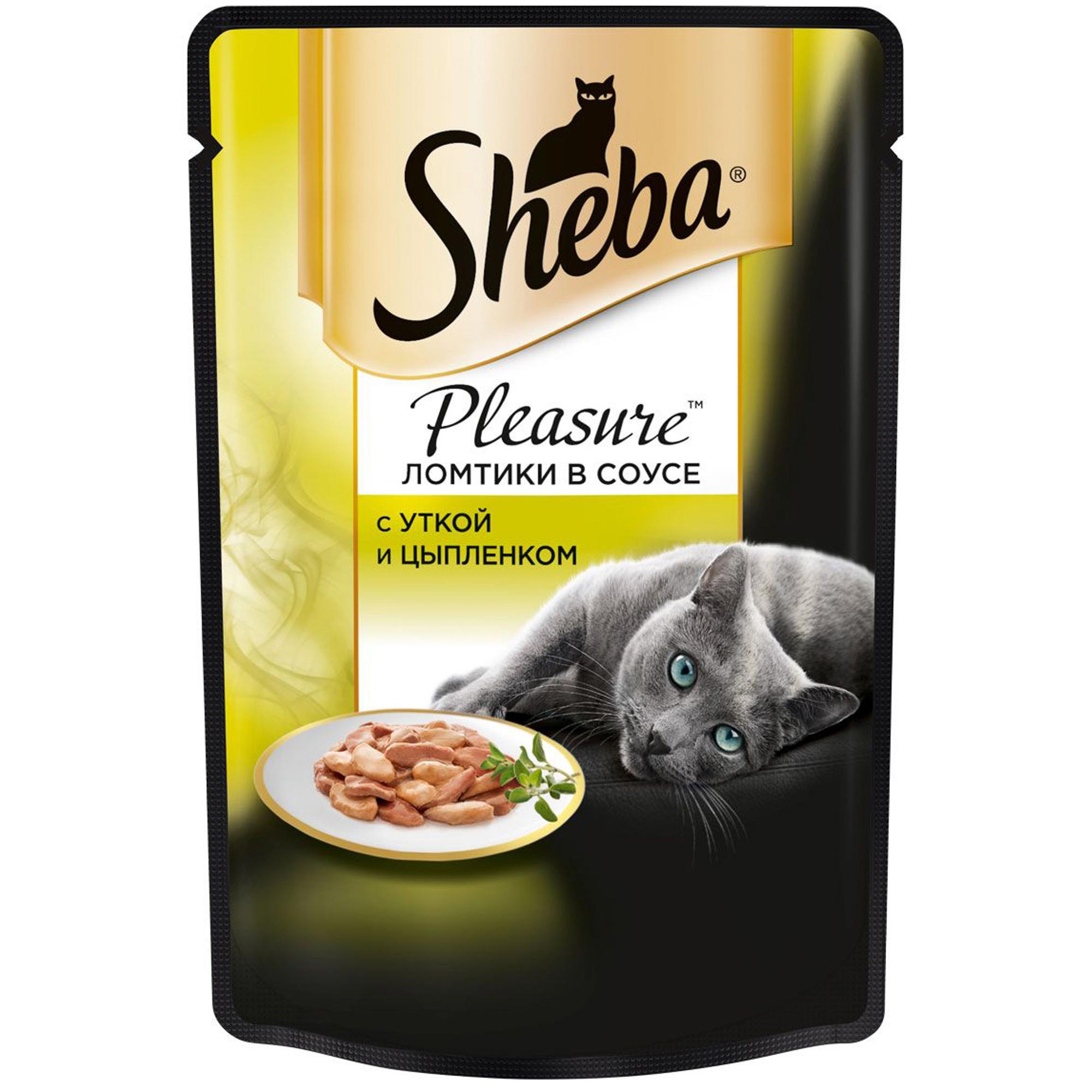 Корм для кошек SHEBA Pleasure Утка и цыпленок 85г.
