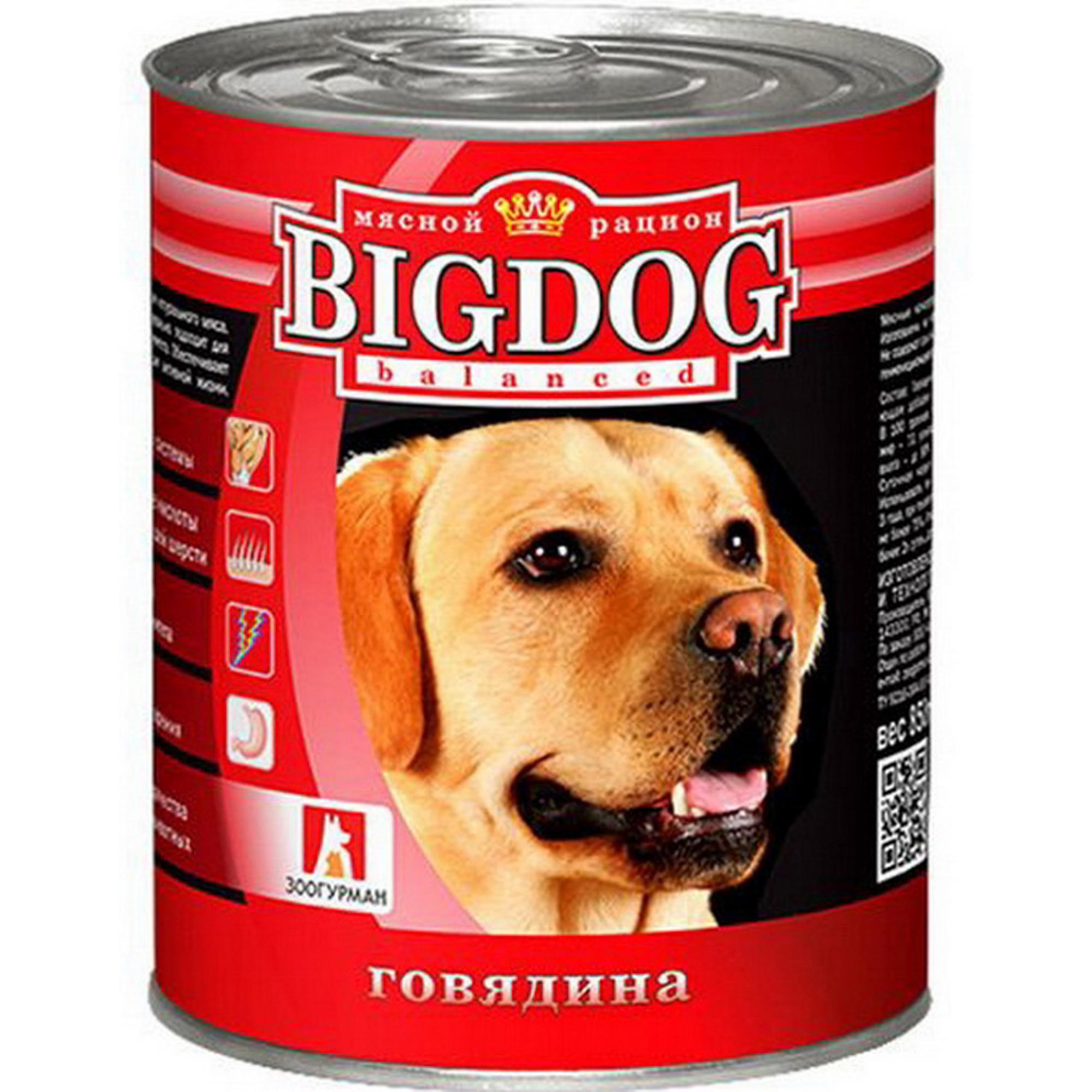 Корм для собак ЗООГУРМАН Big Dog Мясное говядина 850 г.