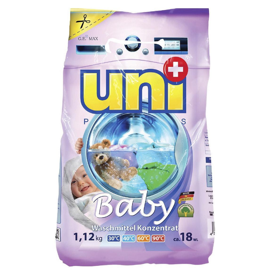 Концентрированный стиральный порошок UniPlus Baby 18 стирок 1,12 кг