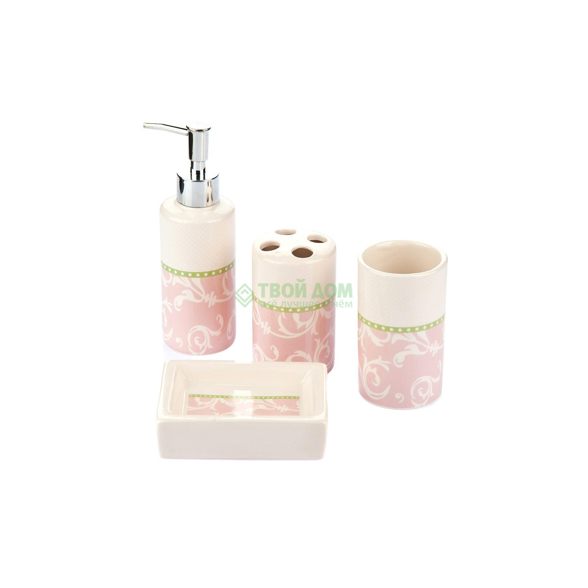 Купить Набор для ванной комнаты Primanova D-16008, набор для ванной комнаты, Китай, розовый, фарфор