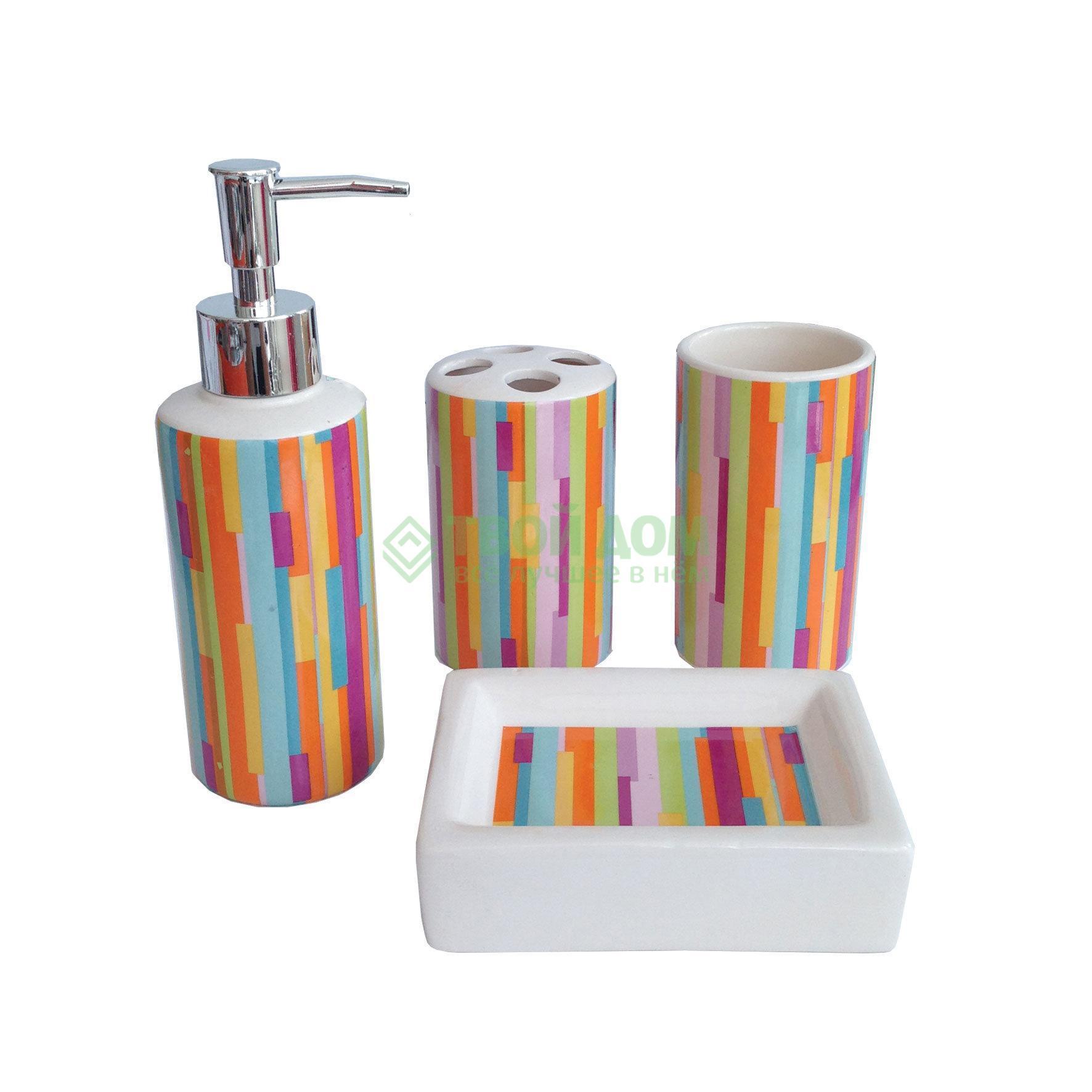 Набор для ванной комнаты Primanova D-16009, набор для ванной комнаты, Китай, голубой, оранжевый, фарфор  - купить со скидкой