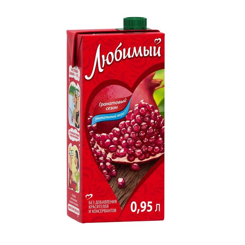 Напиток сокосодержащий Любимый Яблоко-Гранат-Черноплодная рябина 0,95 л напиток сокосодержащий любимый яблоко вишня черешня 0 95 л