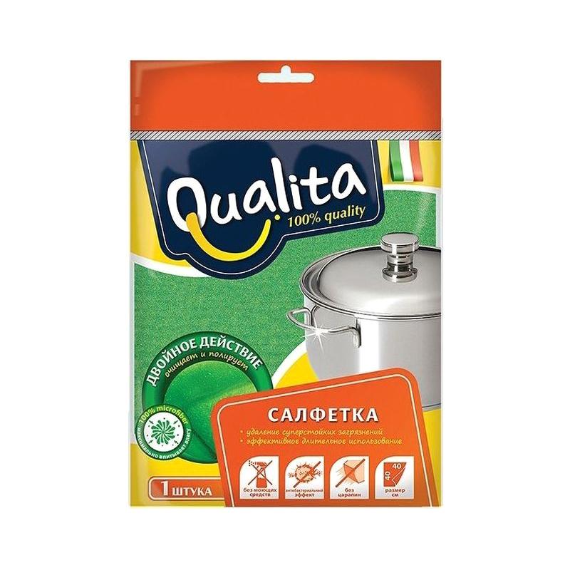 Салфетка Qualita из микрофибры Двойное действие салфетка из микрофибры qualita антипыль 1 мл