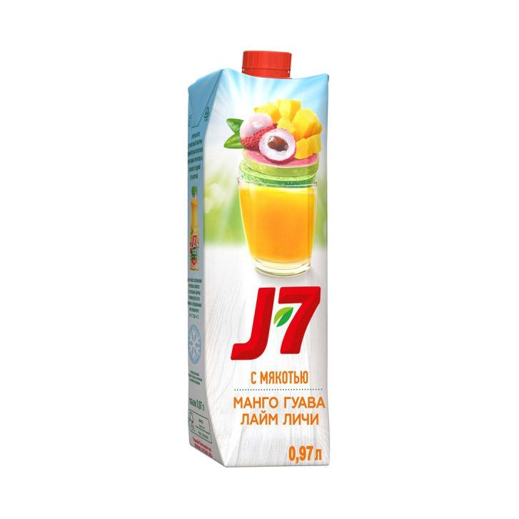 Напиток J-7 Лайм-личи Манго-гуава 0,97 л malee сок личи 0 33 л