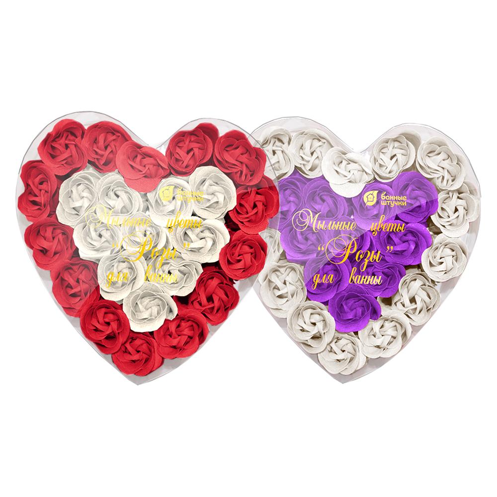 """Мыльные цветы """"Розы"""" в коробке в форме сердца 24 шт. /10"""