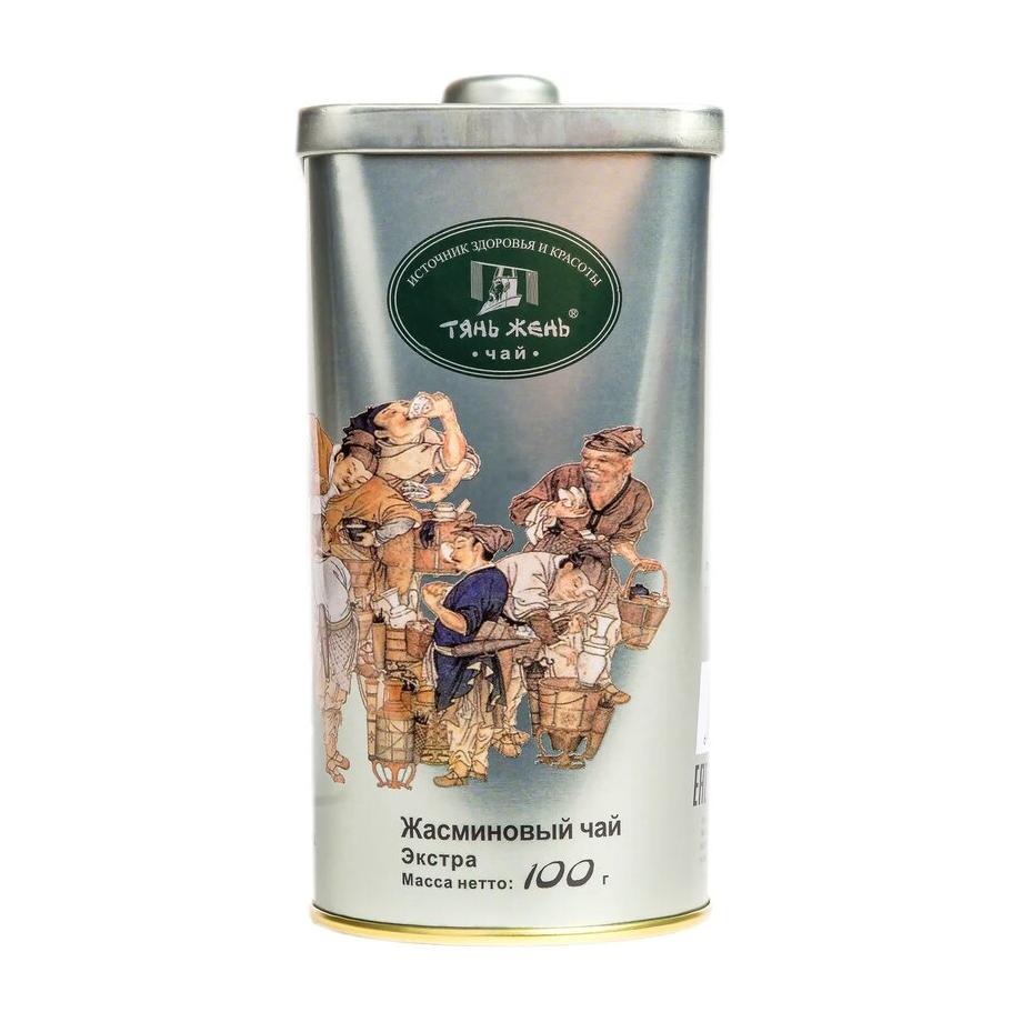 Чай Тянь-Жень Китайский Зеленый Жасминовый листовой 100 г фото