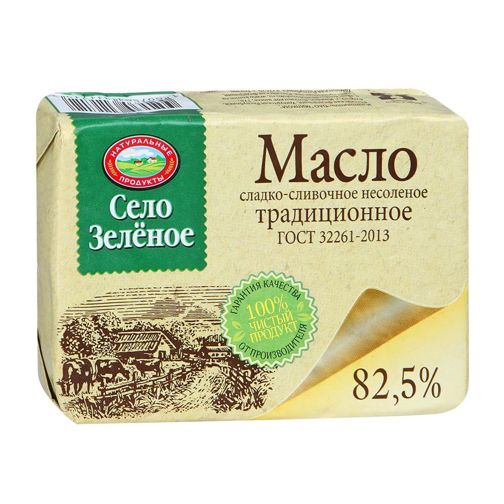 Масло Село Зеленое сладко-сливочное традиционное несоленое 82,5% 175 г