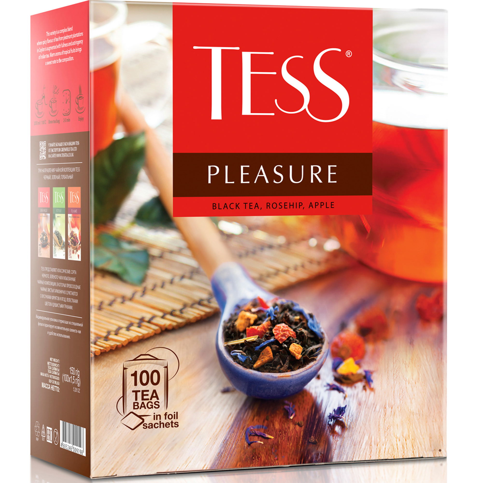 Чай черный Tess Pleasure 100 пакетиков чай черный tess grapefruit