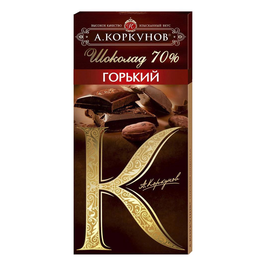 шоколад а коркунов горький с миндалем 55% 90 г Шоколад А.Коркунов Горький 70% 90 г