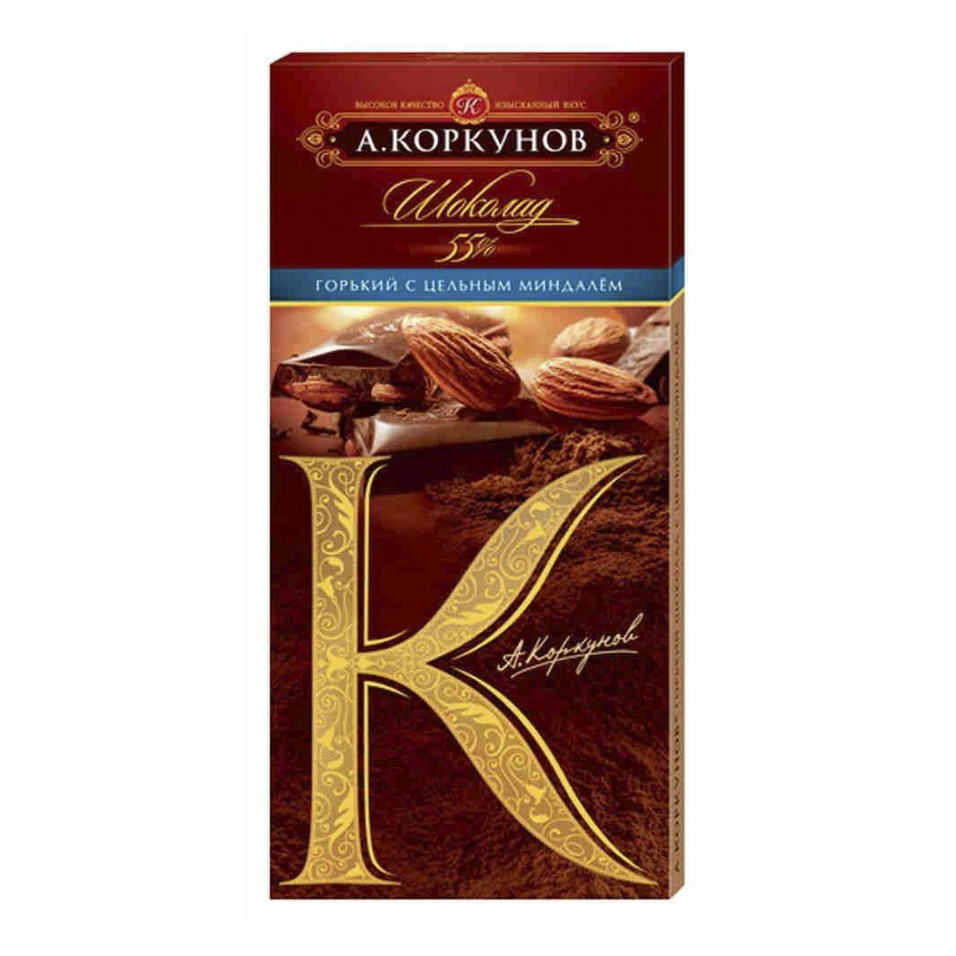 шоколад коммунарка горький с миндалем 100 г Шоколад А.Коркунов Горький с миндалем 55% 90 г