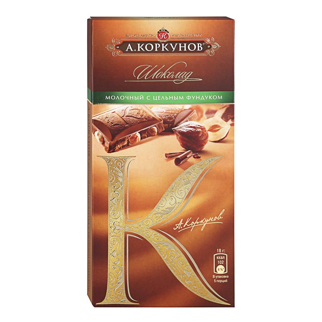 шоколад а коркунов горький с миндалем 55% 90 г Шоколад А.Коркунов Горький с лесным орехом 55% 90 г
