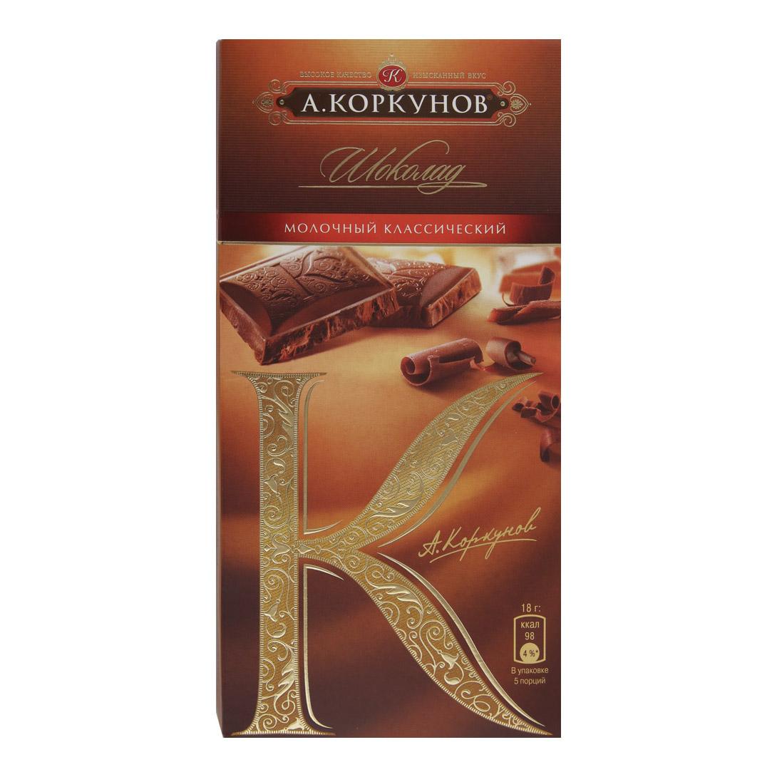 Шоколад А.Коркунов молочный 90 г шоколад heidel молочный планшет 90 г