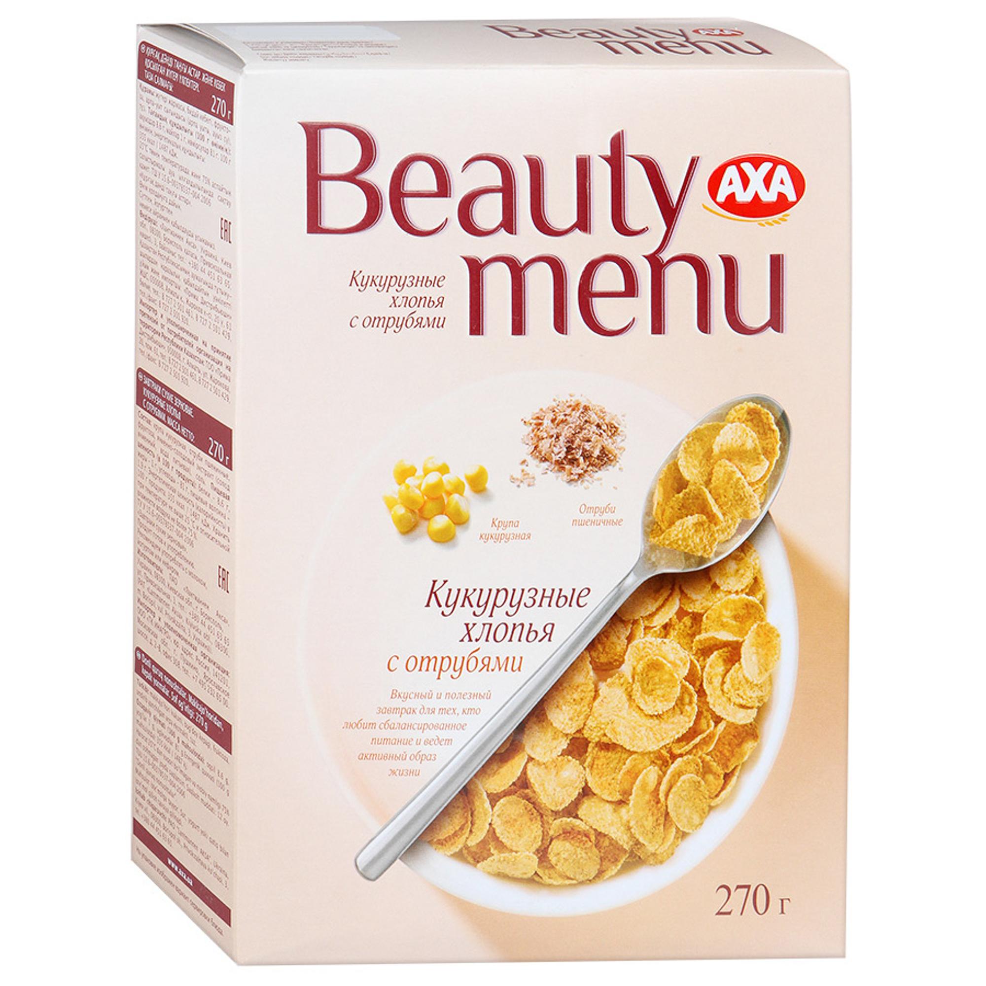 Фото - Хлопья AXA Beauty menu кукурузные с отрубями 270 г мюсли axa muesli crispy хрустящие медовые хлопья и шарики с тропическими фруктами коробка 270 г