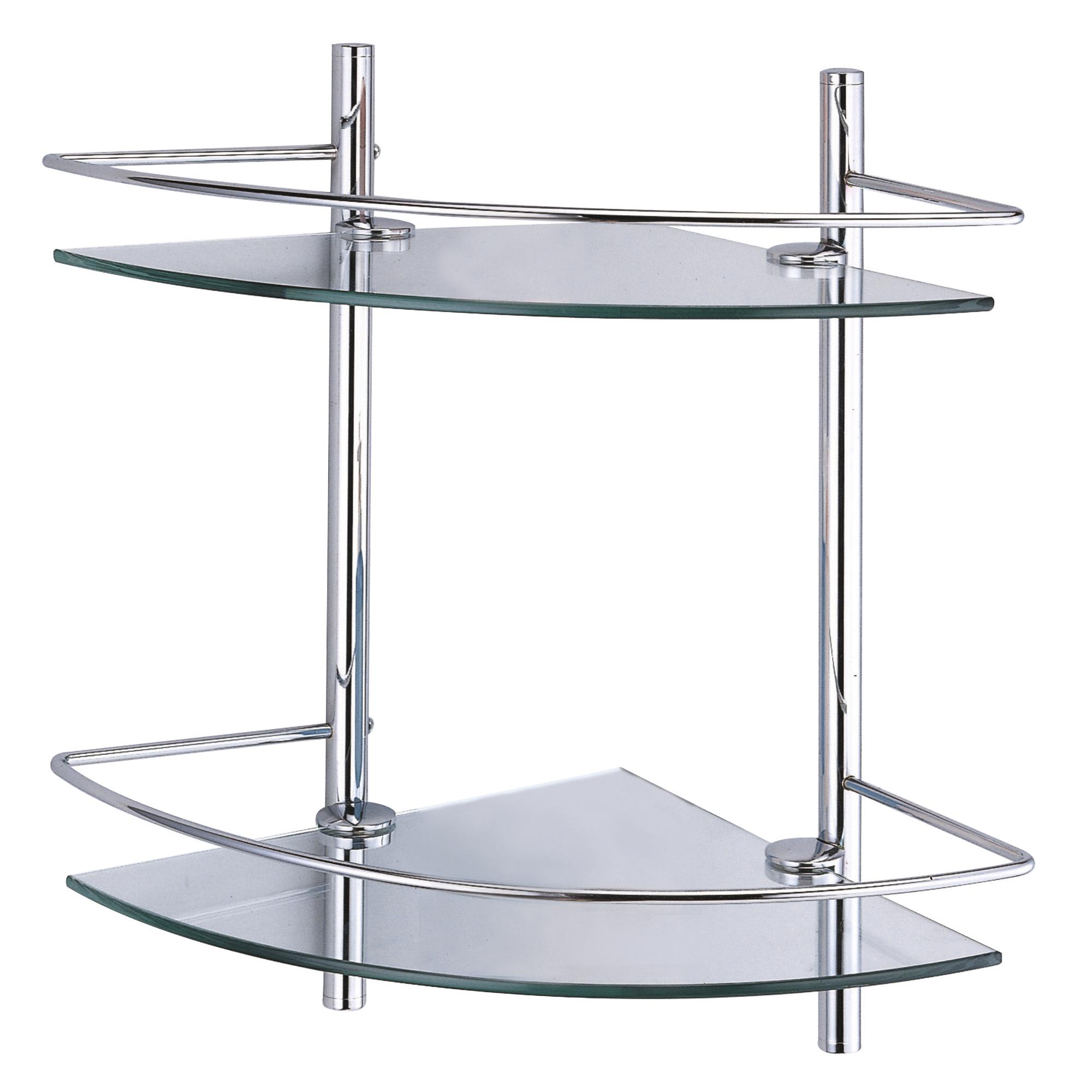 Полка стеклянная угловая двойная, с бортиком WasserKraft фото