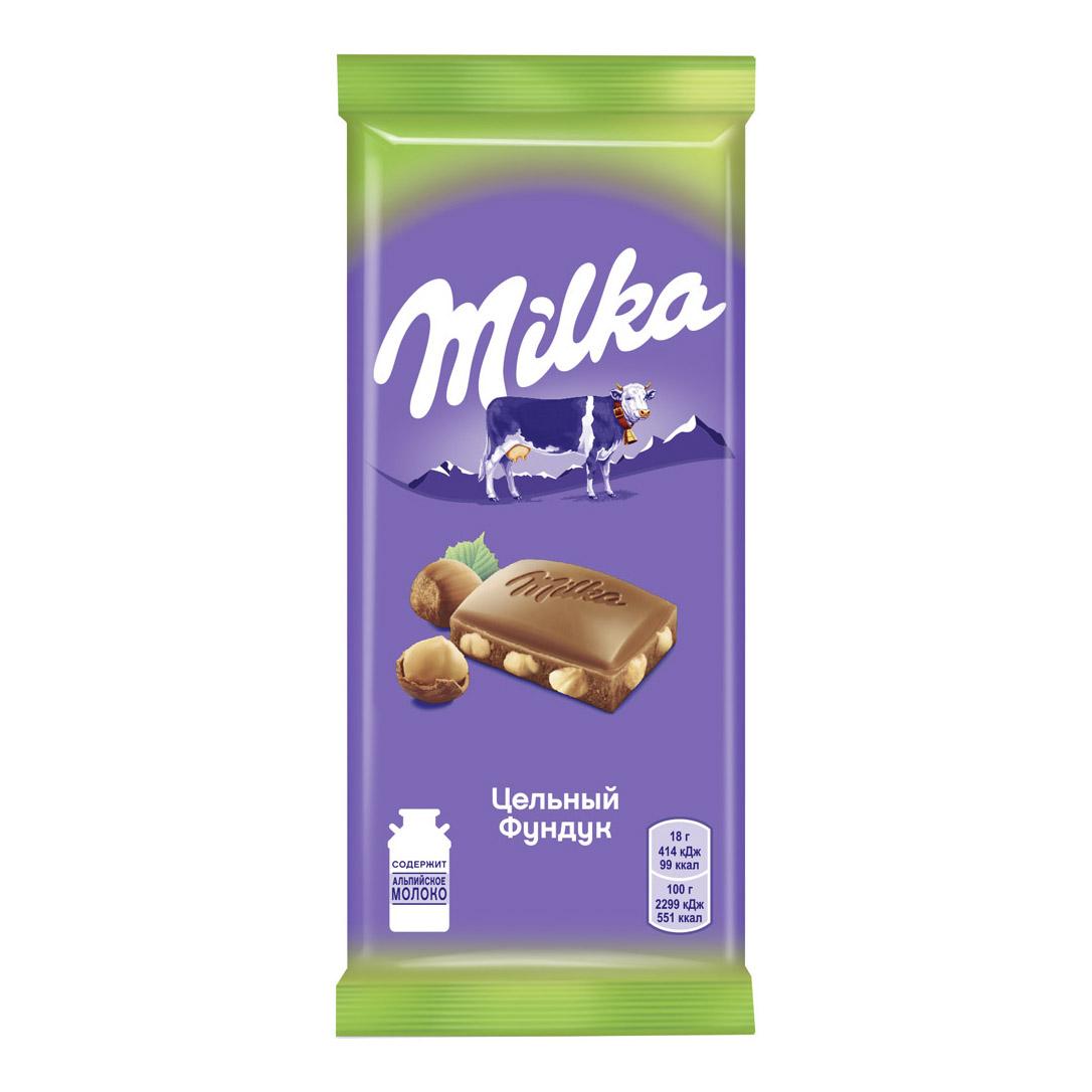 Шоколад Milka молочный с цельным фундуком 90 г