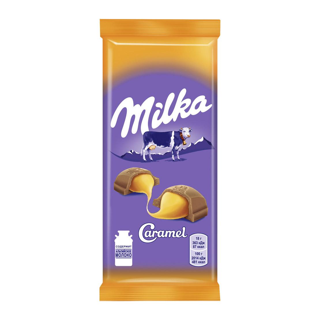 шоколад milka молочный 90 г Шоколад молочный Milka с карамельной начинкой 90 г