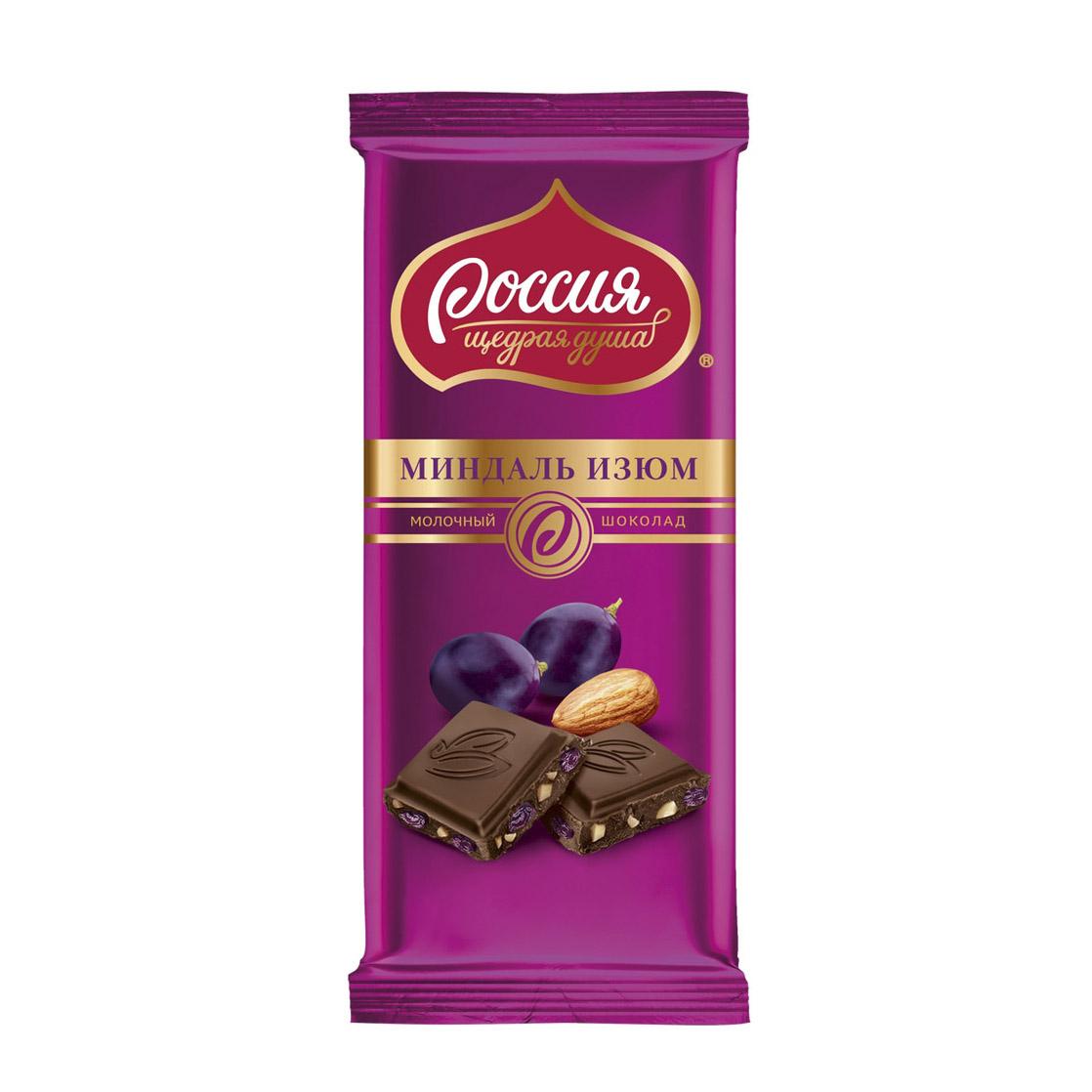 шоколад россия щедрая душа молочный белый пористый 82 г Шоколад Россия щедрая душа Молочный с миндалем и изюмом 90 г