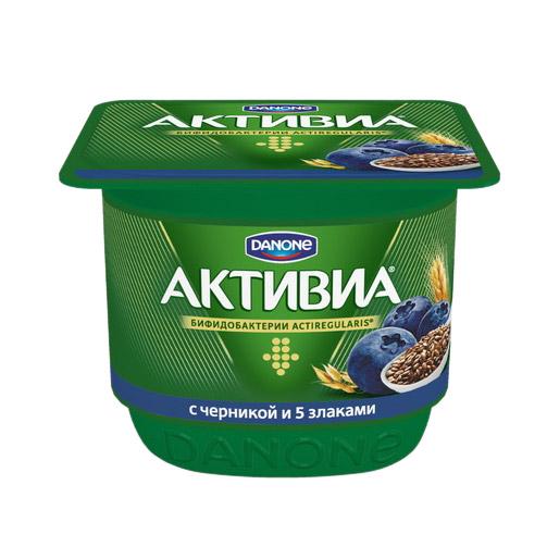 активиа биопродукт творожно йогуртный 4 5% 130 г Биойогурт Активиа 5 злаков черника, льняные семена 2,9% 150 г