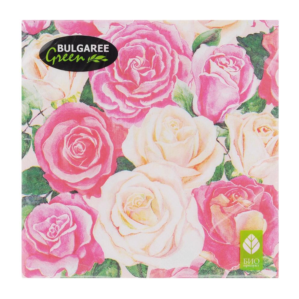 Салфетки бумажные Bulgaree Green Розовый букет трехслойные 33х33 см 20 шт