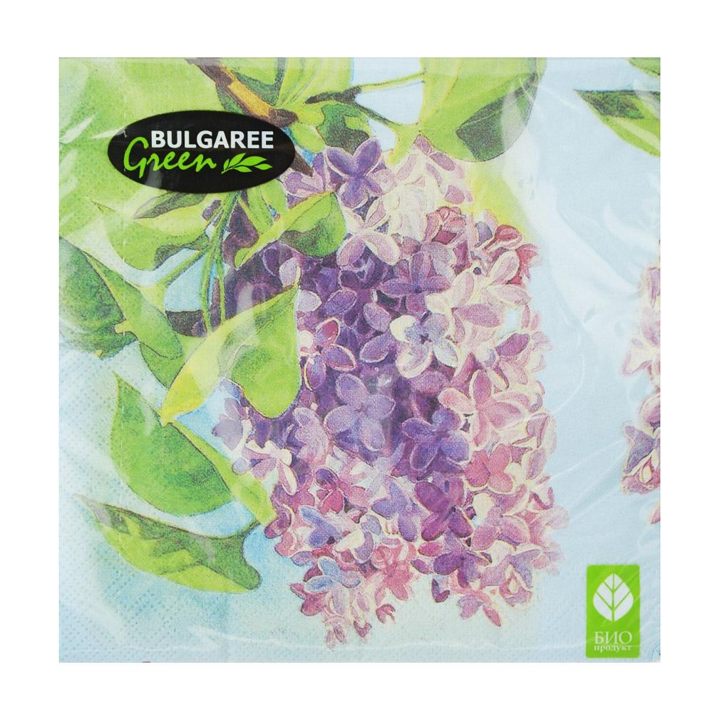 Салфетки бумажные Bulgaree Green Сирень трехслойные 33х33 см 20 шт