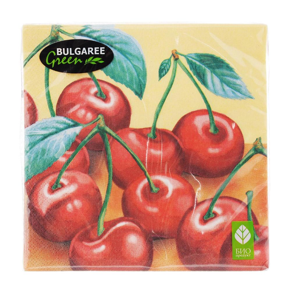 Салфетки бумажные Bulgaree Green Вишня трехслойные 33х33 см 20 шт