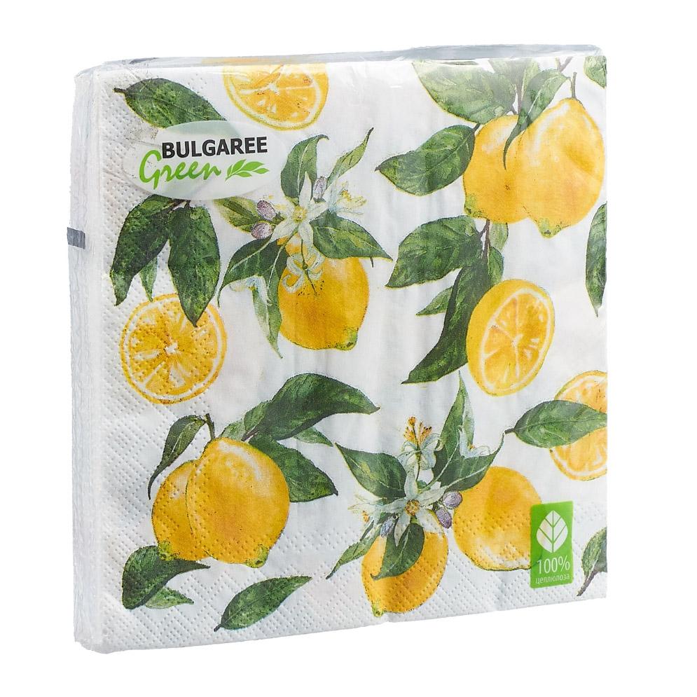 Салфетки бумажные Bulgaree Green Лимон трехслойные 33х33 см 20 шт
