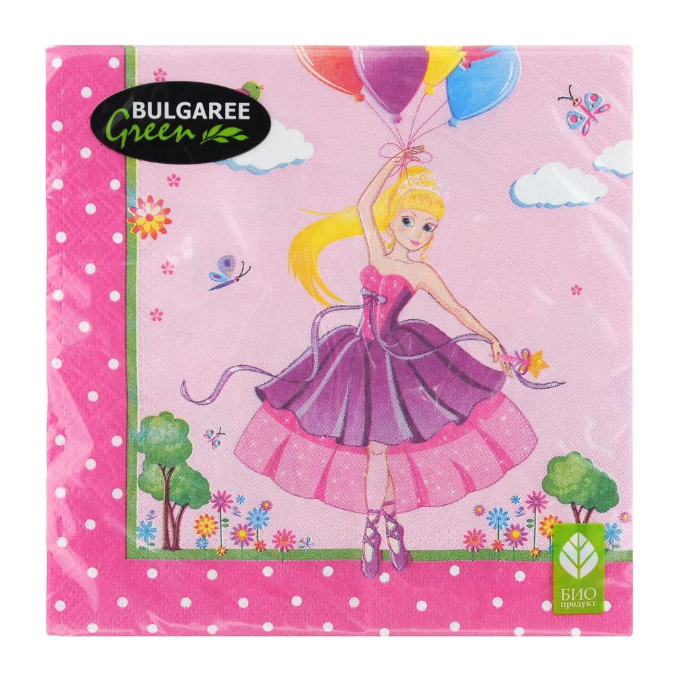 Салфетки бумажные Bulgaree Green Принцесса трехслойные 33х33 см 20 шт