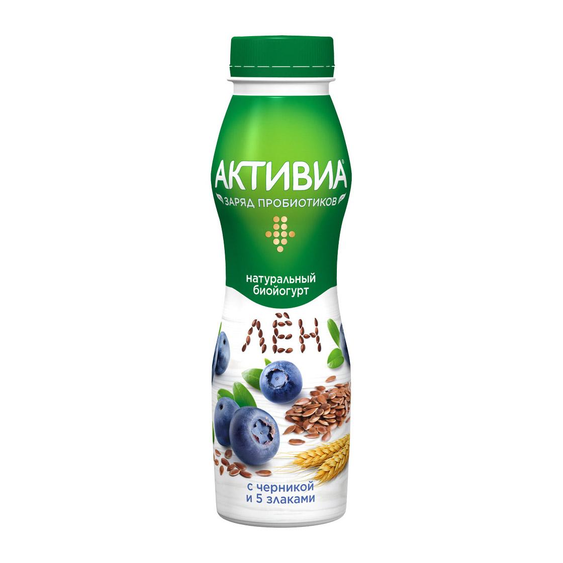 активиа биопродукт творожно йогуртный 4 5% 130 г Биойогурт Активиа 5 злаков черника, семена льна 2,9% 260 г