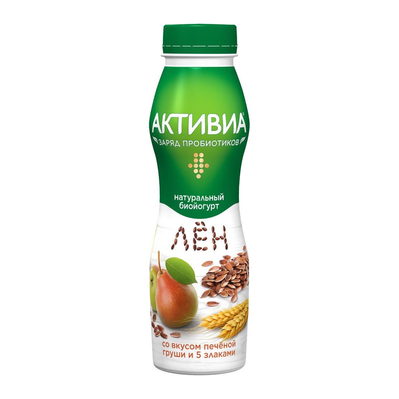 активиа биопродукт творожно йогуртный 4 5% 130 г Биойогурт Активиа 5 злаков, печеная груша и льняные семена 2,1% 290 г