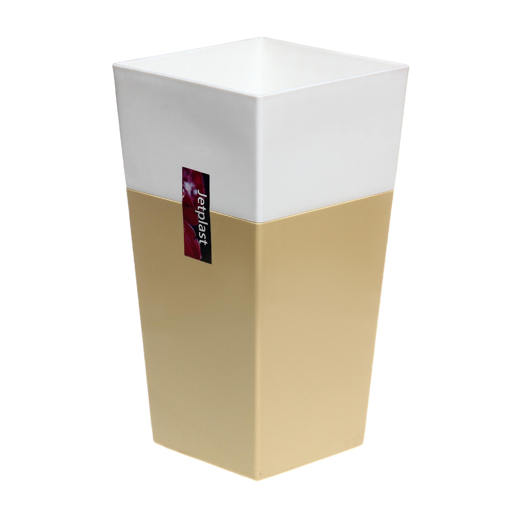 Кашпо Интерлинк дуэт 13x13 см кремово-белый кашпо интерлинк волна 12 см бирюзовый
