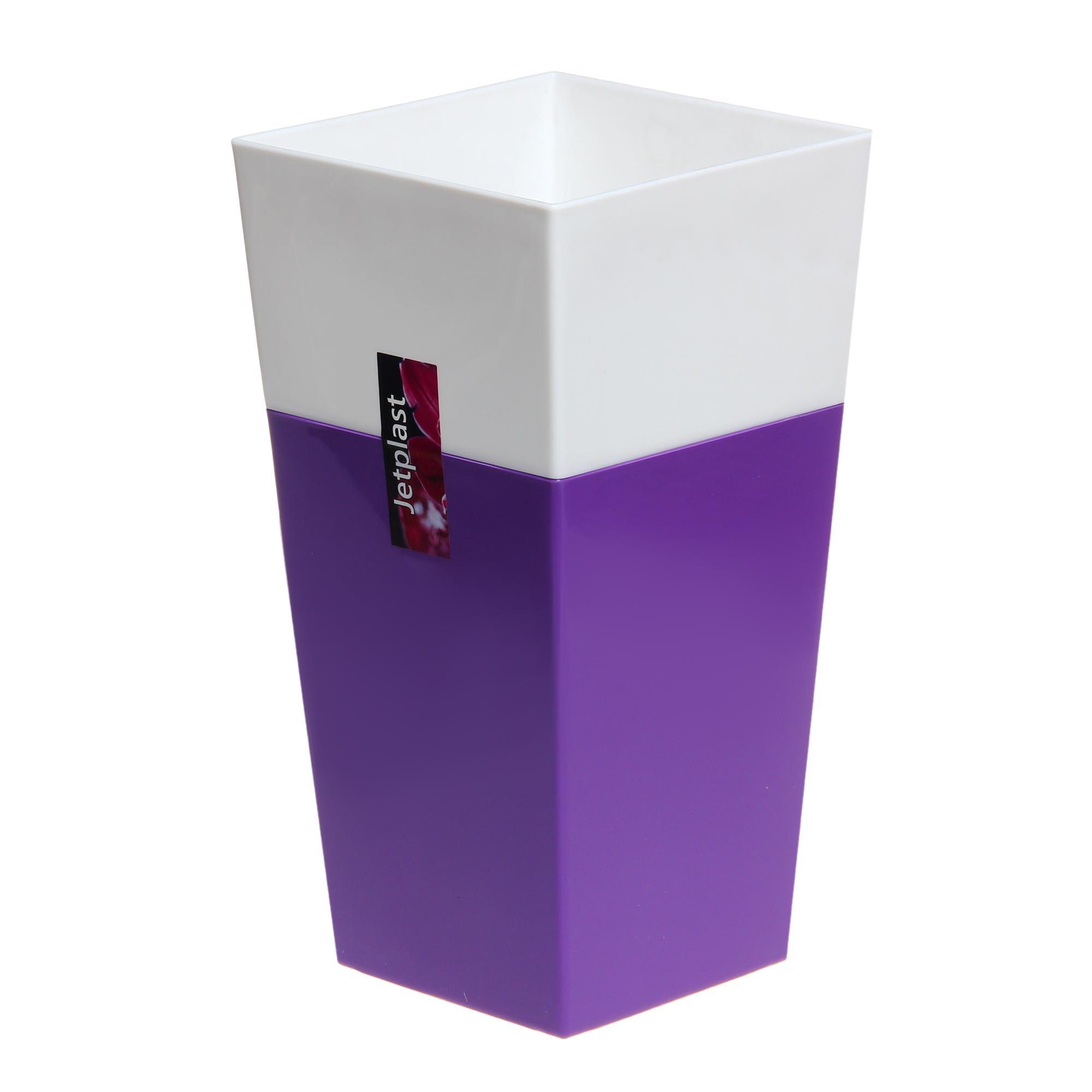 Кашпо Интерлинк дуэт 13x13см фиолетовый-белый кашпо интерлинк волна 12 см бирюзовый