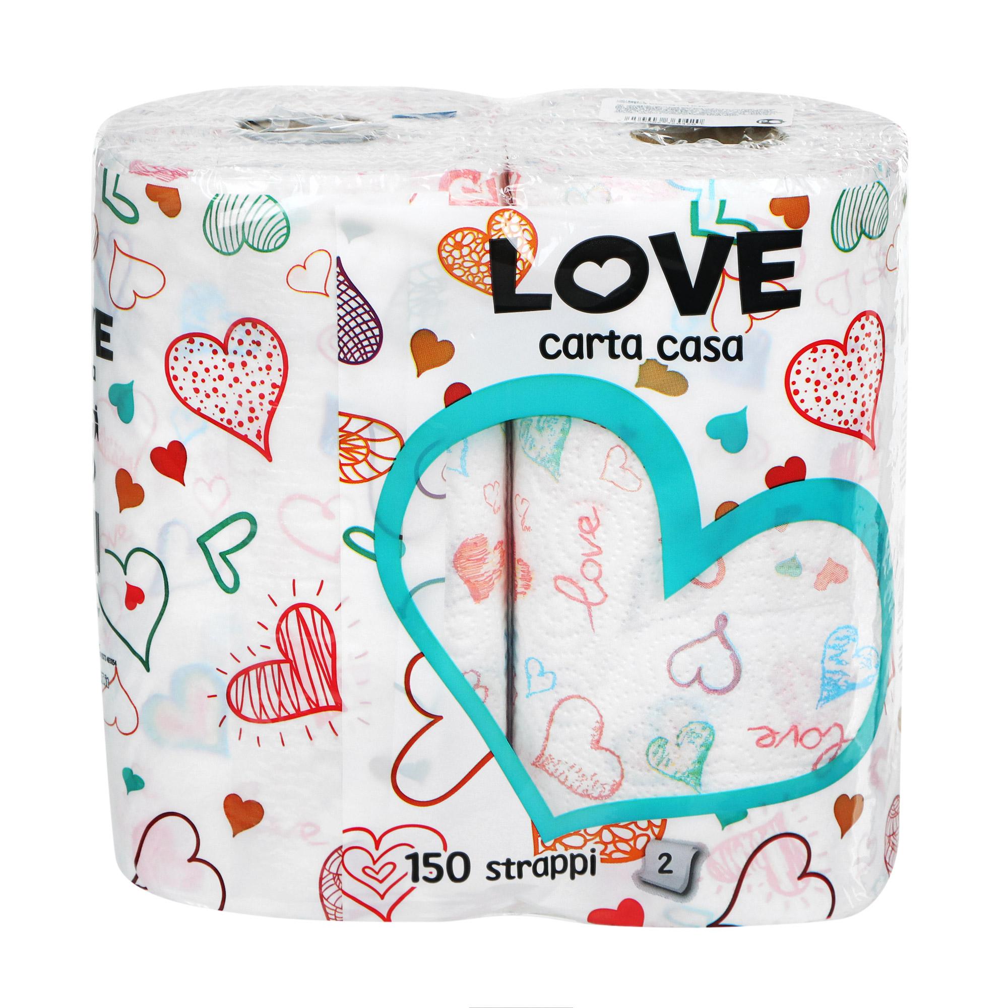 Полотенце кухонное World cart love 2 руллона слоя
