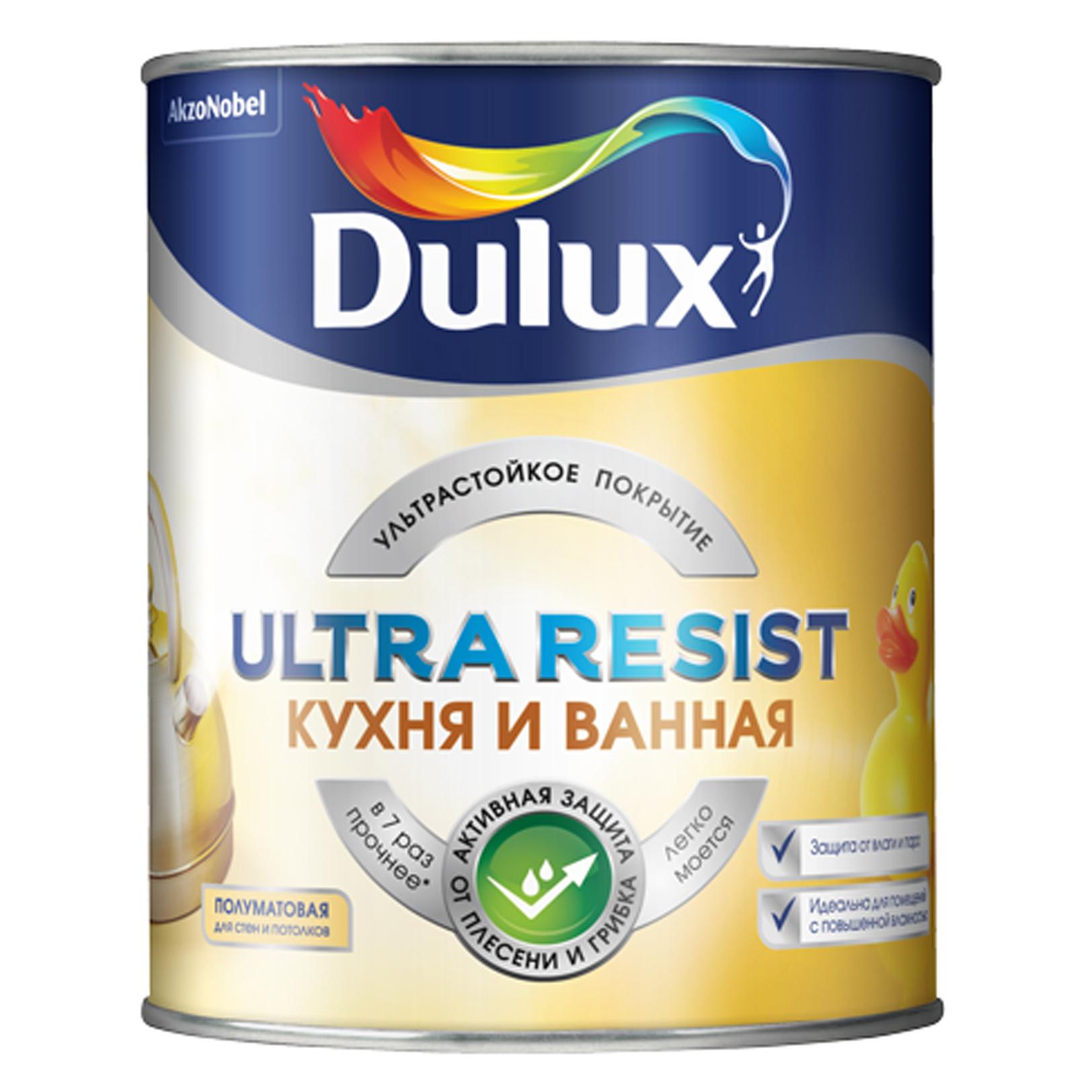 Краска Dulux Ultra Resist Кухня и ванная полуматовая BC краска dulux ultra resist гостиные и офисы матовая bc
