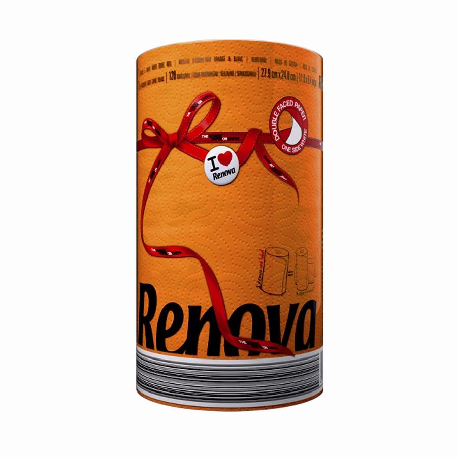 Купить Бумажные полотенца Renova Red Label Orange 1 рулон, бумажные полотенца, Португалия, оранжевый, 100% целлюлоза