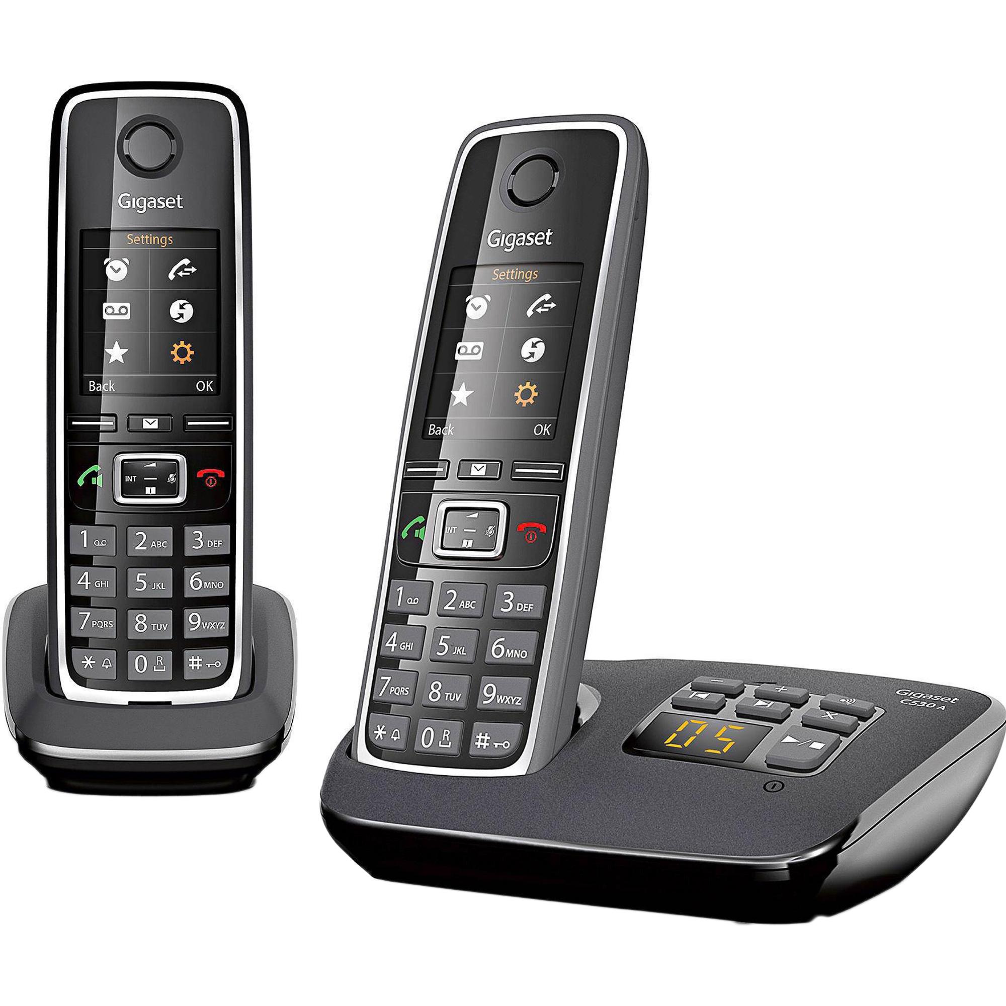 Стационарный телефон Gigaset C530 AM DUO Black
