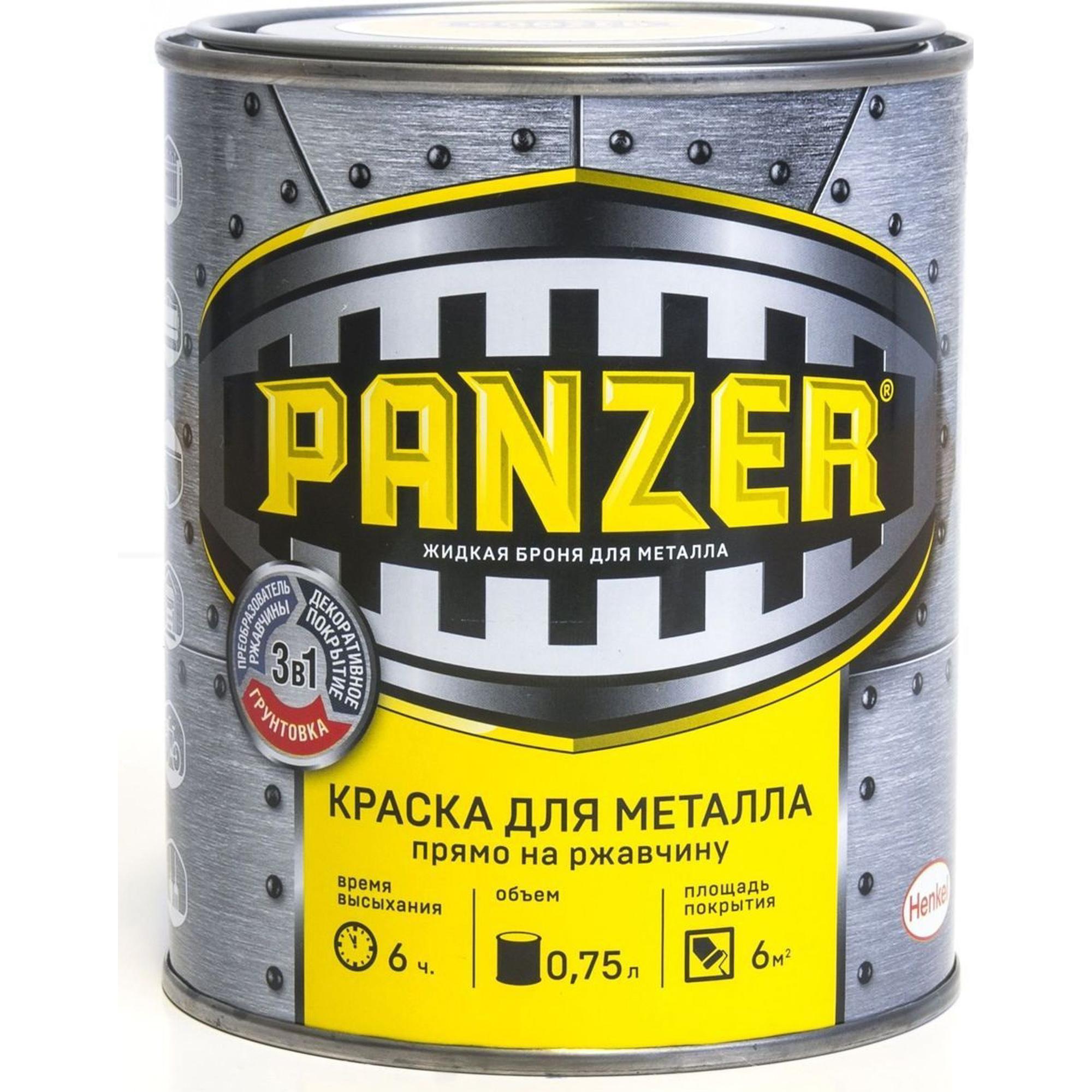 Краска для металла Panzer молотковая коричневая 0.75л