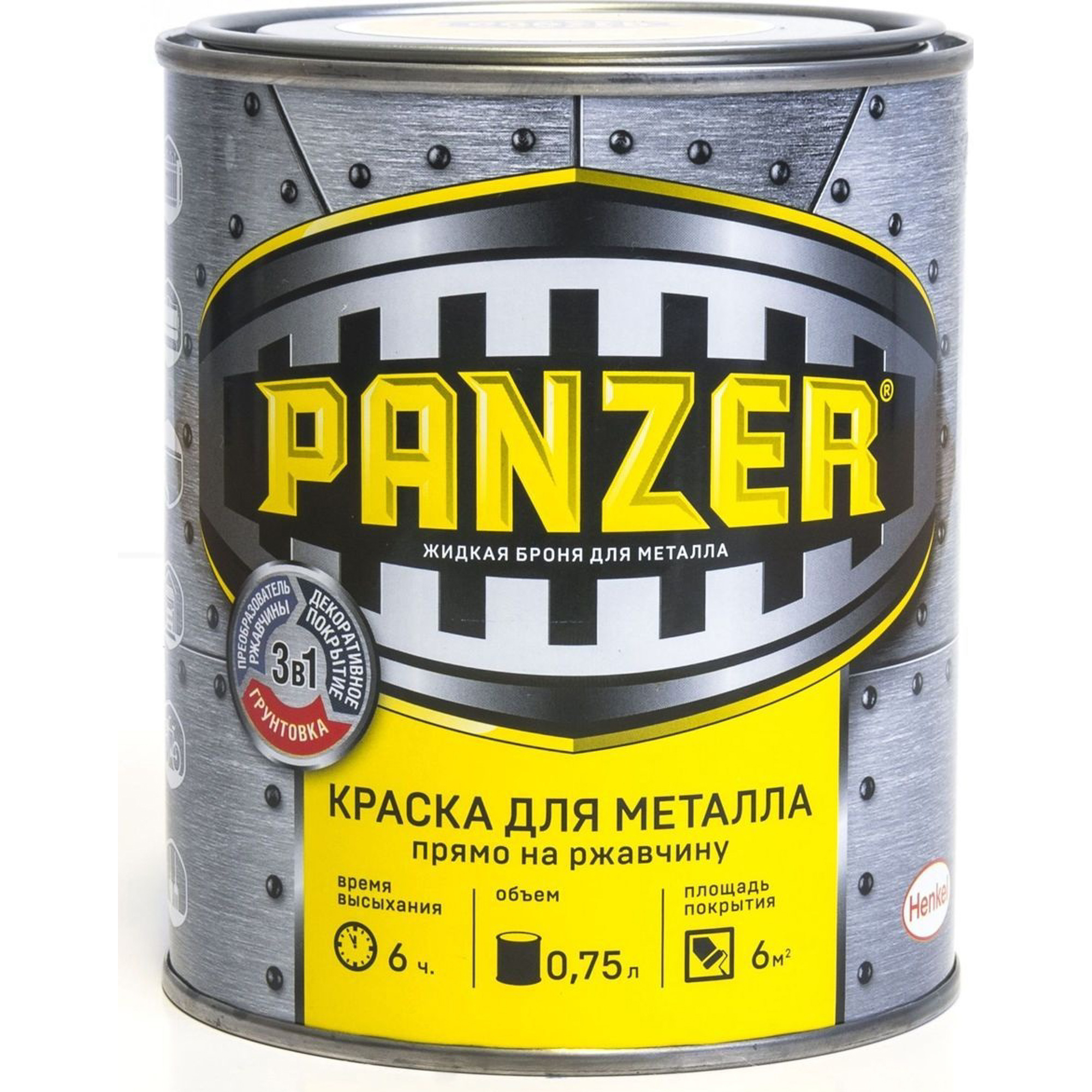 Краска для металла Panzer молотковая черная 0.75 л недорого