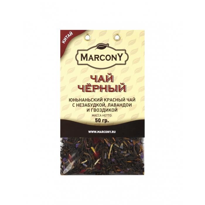 Чай чёрный Marcony Юньнаньский с незабудкой, лавандой и гвоздикой 50 г чай зелёный marcony с гвоздикой лавандой и незабудкой 50 г