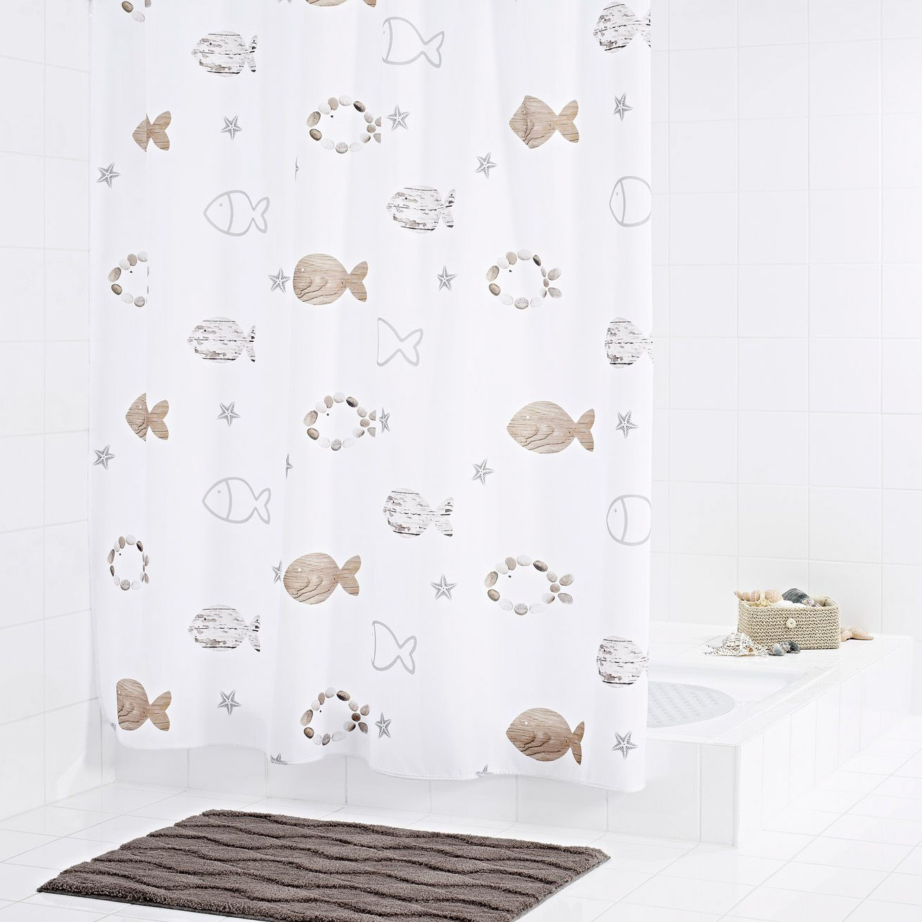 Штора для ванных комнат Fishes бежевый/коричневый 180*200 Ridder для ванных комнат