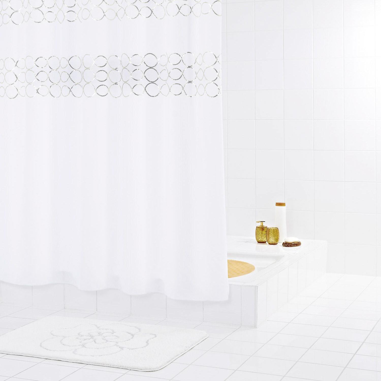 Штора для ванных комнат Paillette желтый/золотой 180*200 Ridder