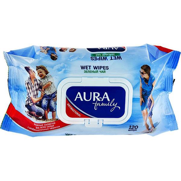 Влажные салфетки Aura Антибактериальные 120 шт