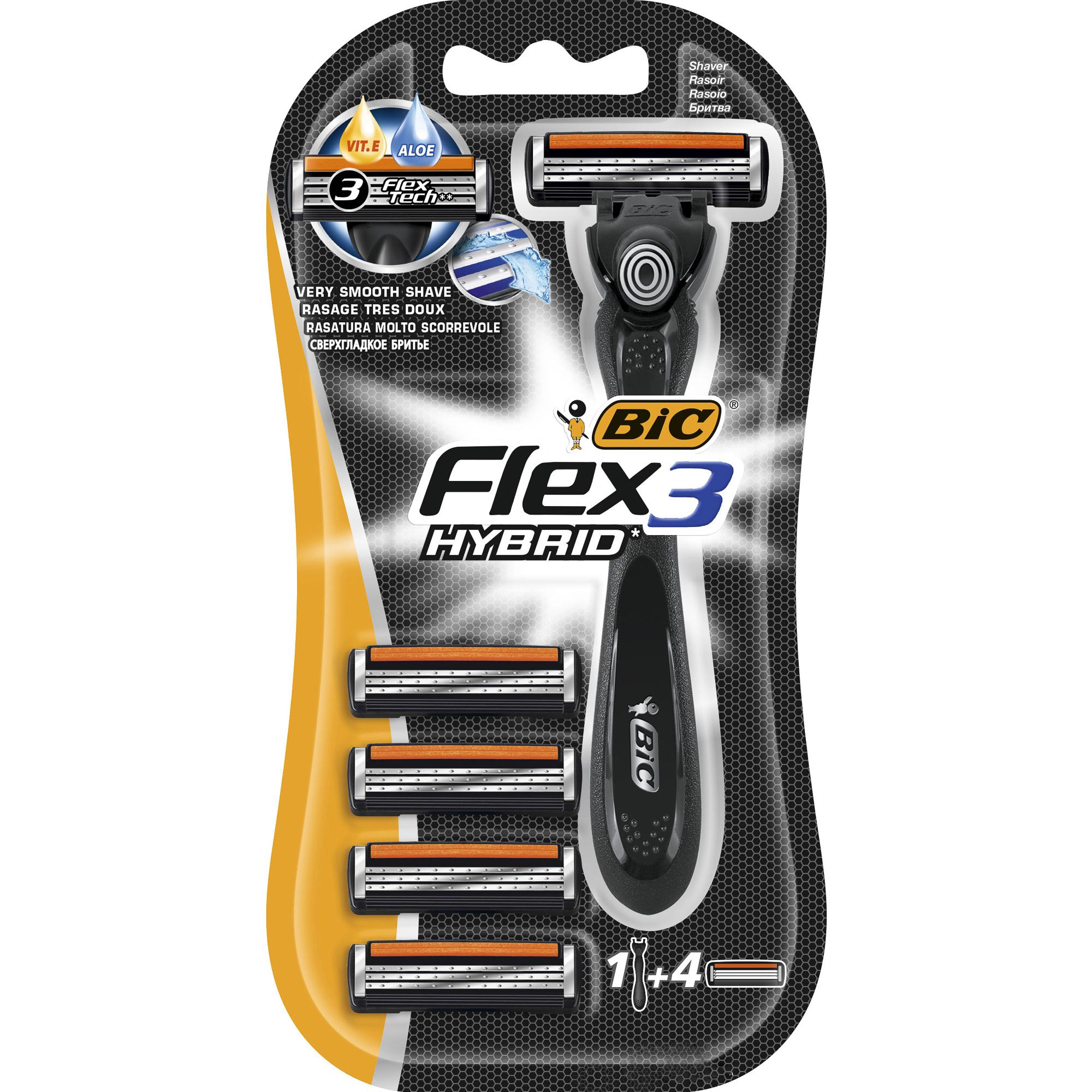 Бритва BIC Flex Hybrid с 4 сменными кассетами.