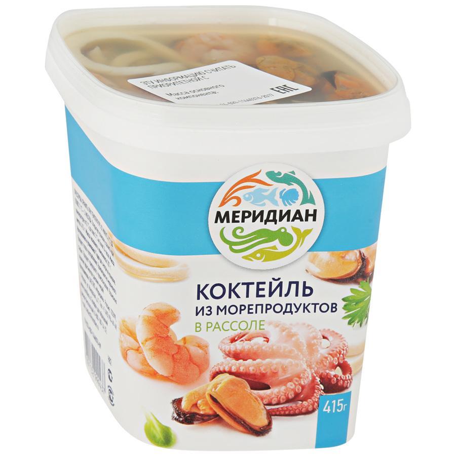 Коктейль из морепродуктов Меридиан в рассоле, 415 г коктейль из морепродуктов меридиан подкопченный в масле 380 г