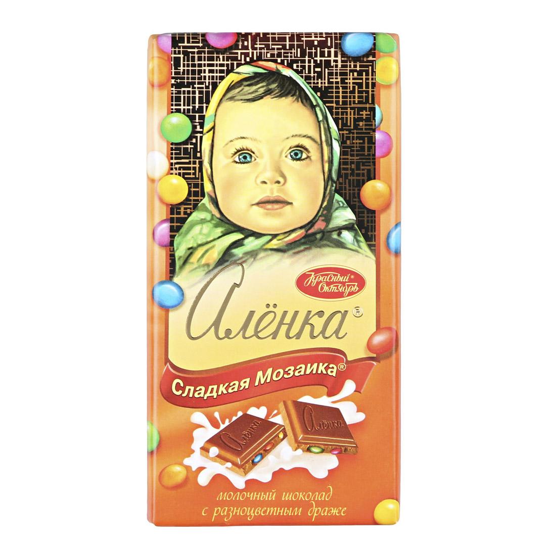 шоколад молочный аленка пористый 95 г Шоколад молочный Аленка сладкая мозаика с разноцветными драже 90 г