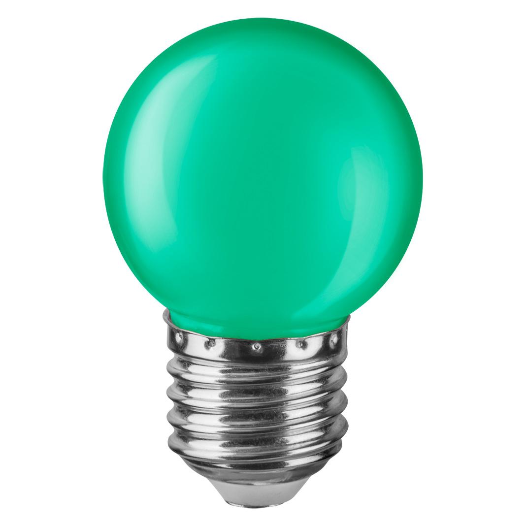 Купить Лампа светодиодная Navigator шарик цветной 1Вт цоколь E27 (зеленая), светодиодная лампа, Китай