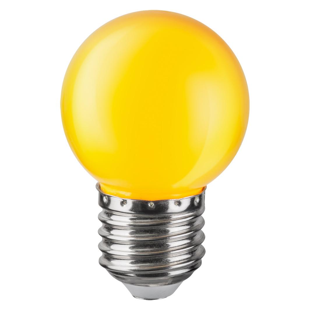 Купить Лампа светодиодная Navigator шарик цветной 1Вт цоколь E27 (желтая), светодиодная лампа, Китай