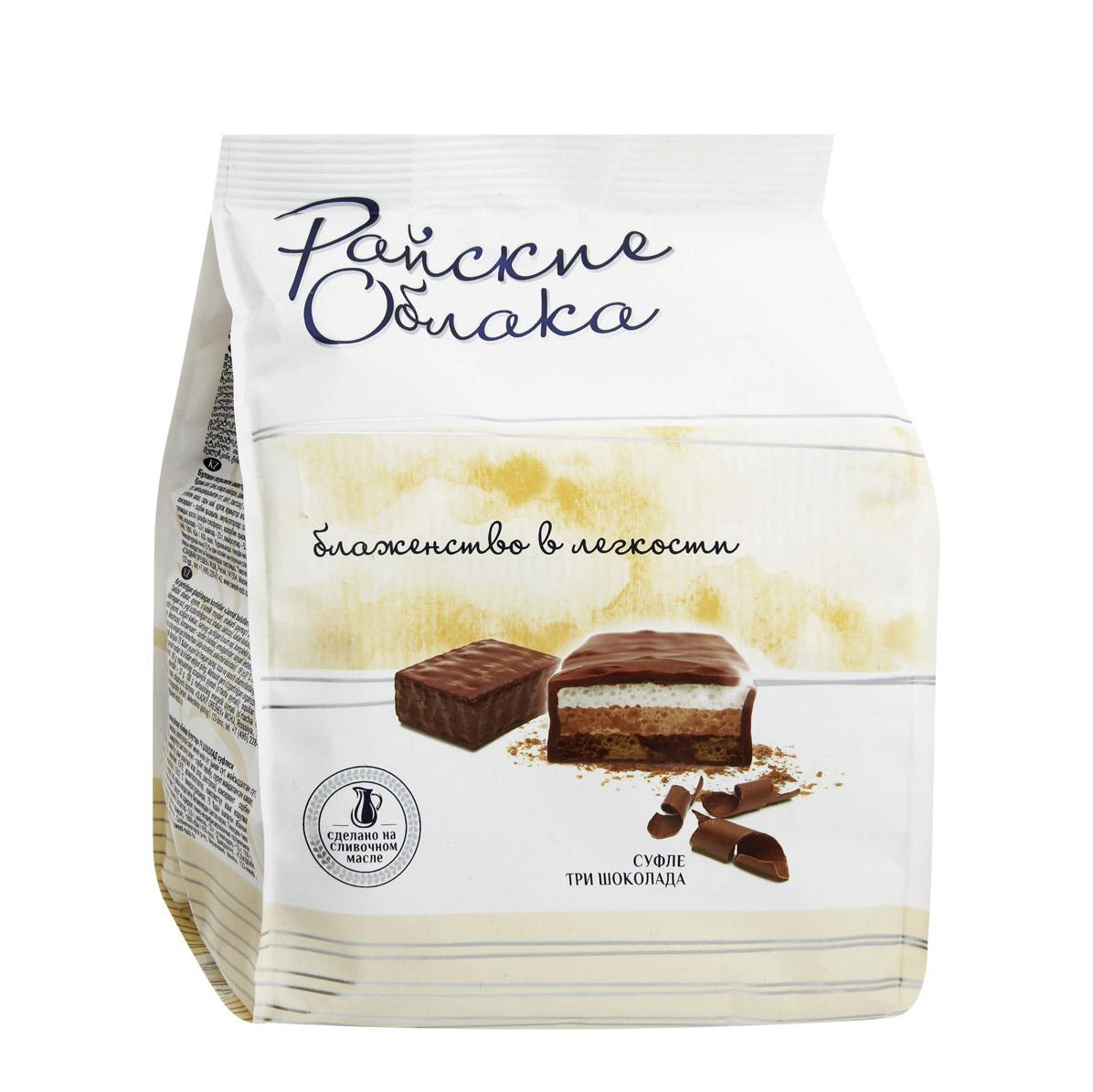 три шоколада Конфеты Райские Облака суфле три шоколада 200 г